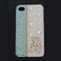 Gloomy Bear Bling Crystal Case pearl Cover for iPhone 4G 4S - Blue White