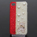 Gloomy Bear Bling Crystal Case pearl Cover for iPhone 4G 4S - Red White