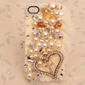Heart Bling Crystal Case Pearl lace Cover shell for iPhone 4G 4S - Beige