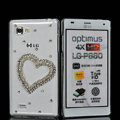 Heart Bling Crystal Case Rhinestone Cover shell for LG P880 Optimus 4X HD - White