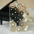 Heart Tassels Bling Crystal Case Rhinestone Cover shell for LG P880 Optimus 4X HD - White