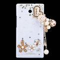 Heart Tassels Bling Crystal Case Rhinestone Cover shell for OPPO U705T Ulike2 - White