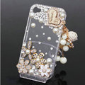 Heart tassel Bling Crystal Case alloy flower Cover shell for iPhone 4G 4S - White