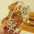 Horse tassel Bling Crystal Case pearl Cover shell for LG E400 Optimus L3 - White