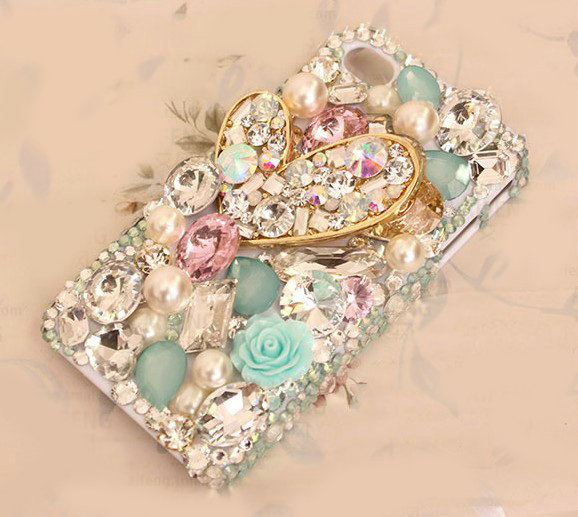 Buy Wholesale Luxury Heart Alloy Bling clear Crystal DIY Cell Phone Case shell Cover Deco Den ...