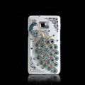 Peacock Bling Crystal Case Rhinestone Cover shell for LG E400 Optimus L3 - Blue