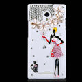 Powder skirt girl Bling Crystal Case Rhinestone Cover shell for OPPO U705T Ulike2 - White