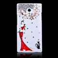 Red skirt girl Bling Crystal Case Rhinestone Cover shell for OPPO U705T Ulike2 - White