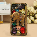 Retro elephant Bling Crystal Case Rhinestone Cover shell for iPhone 4G 4S - Gold