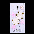 Rose Flower Bling Crystal Case Rhinestone Cover shell for OPPO U705T Ulike2 - White