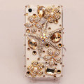 Starfish flower Bling Crystal Case Rhinestone Cover shell for iPhone 4G 4S - Gold