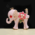 Alloy Elephant Crystal Pearl Metal DIY Phone Case Cover Deco Kit - Pink