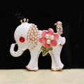 Alloy Elephant Crystal Pearl Metal DIY Phone Case Cover Deco Kit - White