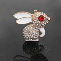Alloy Rabbit Crystal Metal DIY Phone Case Cover Deco Kit - White