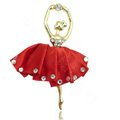 Ballet girl Alloy Crystal Metal DIY Phone Case Cover Deco Kit - Red