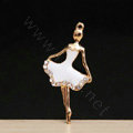 Ballet girl Alloy Crystal Metal DIY Phone Case Cover Deco Kit - White