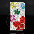Bling Flower Holster Cover Crystal Pearl Leather Case for iPhone 5 - White