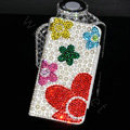 Bling Holster Cover Flower Crystal Pearl Leather Case for Samsung N7100 GALAXY Note2 - White