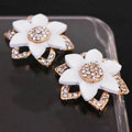 Daisy Alloy flower Crystal Metal DIY Phone Case Cover Deco Kit - White