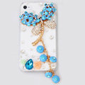 Dragonfly Bling Crystal Case Rhinestone Cover shell for iPhone 4G 4S - Blue