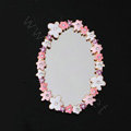 Flower edge mirror Alloy Crystal DIY Phone Case Cover Deco Kits - White Pink