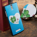 Leaf Painting Cover Matte Hard Case Skin for OPPO X909 Find 5 - Blue