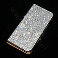 Luxury Bling Holster Cover Crystal Leather Case for iPhone 5 - Black