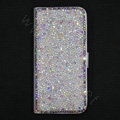 Luxury Bling Rollover Holster Cover Crystal Leather Case for iPhone 5 - White