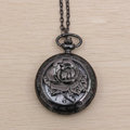 Retro pocket watch Necklace Alloy Metal DIY Phone Case Cover Deco Kit - Black