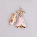 Skirt Shoes Alloy Bling Crystal Metal DIY Phone Case Cover Deco Kit - Pink