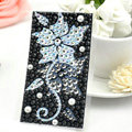 Black Flower Bling Rhinestone Crystal mobile phone DIY Craft Jewelry Stickers