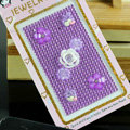 Purple 3D flower Crystal Bling Rhinestone mobile phone DIY Craft Jewelry Stickers