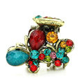 Hair Jewelry Crystal Butterfly Gold Plated Metal Rhinestone Hair Clip Claw Clamp - Multicolor