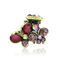 Hair Jewelry Crystal Butterfly Gold Plated Metal Rhinestone Hair Clip Claw Clamp - Purple