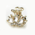 Hair Jewelry Crystal Crown Gold Plated Metal Rhinestone Hair Clip Claw Clamp - White