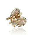 Hair Jewelry Crystal Lover Gold Plated Metal Rhinestone Hair Clip Claw Clamp - Champagne