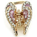 Hair Jewelry Crystal Lover Gold Plated Metal Rhinestone Hair Clip Claw Clamp - Purple