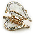 Hair Jewelry Crystal Lover Gold Plated Metal Rhinestone Hair Clip Claw Clamp - White