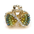 Hair Jewelry Crystal Rhinestone Bowknot Metal Hair Clip Claw Clamp - Green