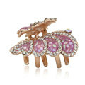 Hair Jewelry Crystal Rhinestone Butterfly Glaze Metal Hair Clip Claw Clamp - Purple