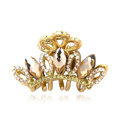 Hair Jewelry Crystal Rhinestone Crown Gold Plated Metal Hair Clip Claw Clamp - Champagne