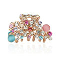 Hair Jewelry Crystal Rhinestone Flower Metal Hair Clip Claw Clamp - Multicolor