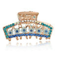 Hair Jewelry Crystal Rhinestone Flowers Metal Hair Clip Claw Clamp - Blue