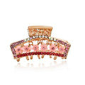 Hair Jewelry Crystal Rhinestone Flowers Metal Hair Clip Claw Clamp - Pink