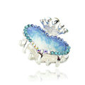 Hair Jewelry Crystal Rhinestone Love Heart Glaze Metal Hair Clip Claw Clamp - Blue
