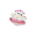 Hair Jewelry Crystal Rhinestone Love Heart Glaze Metal Hair Clip Claw Clamp - Pink