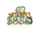 Hair Jewelry Crystal Rhinestone Peacock Metal Hair Clip Claw Clamp - Blue