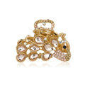 Hair Jewelry Crystal Rhinestone Peacock Metal Hair Clip Claw Clamp - Champagne