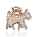 Hair Jewelry Crystal Rhinestone Puppy Glaze Metal Hair Clip Claw Clamp - Apricot