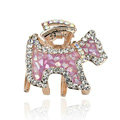 Hair Jewelry Crystal Rhinestone Puppy Glaze Metal Hair Clip Claw Clamp - Purple